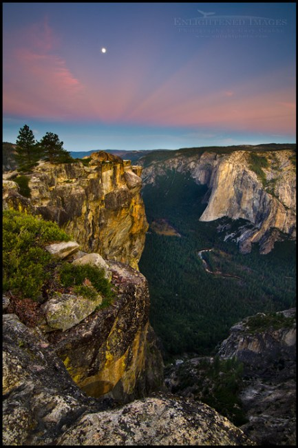 Image: Moonset at dawn from Taft Point, with El Capitan in background, Yosemite National Park, California