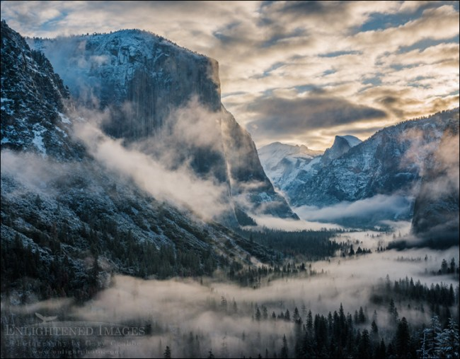 Image: Morning clouds and fog fill Yosemite Valley at sunrise from Tunnel View, Yosemite National Park, California