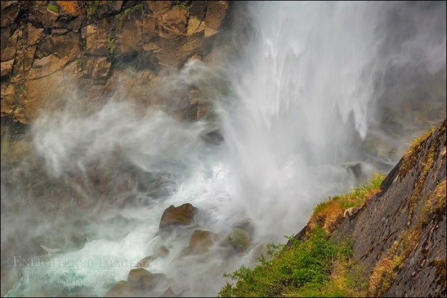 Image: Water crashing on rocks at the base of Feather Falls (410 ft.) Feather Falls Scenic Area, Plumas National Forest, Butte County, California