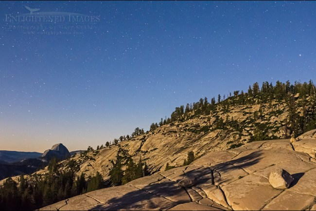 Image: Night sky and stars over Half Dome from Olmsted Point, Yosemite National Park, California