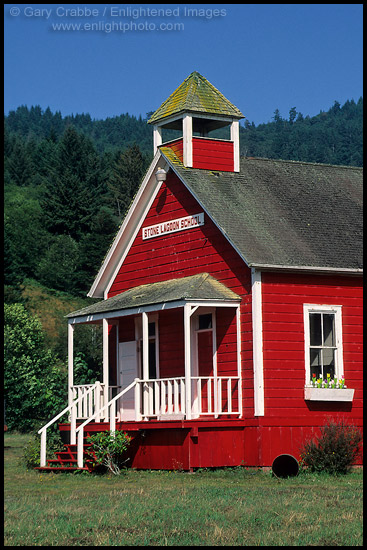 Photo Old One Room Red School House At Stone Lagoon