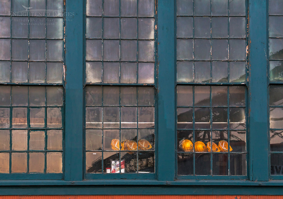 Image: Construction hats hanging in window, Mare Island Naval Shipyard National Historic Landmark, Vallejo, California