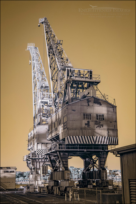 Image: Infrared of industrial cranes at Mare Island Naval Shipyard National Historic Landmark, Vallejo, California