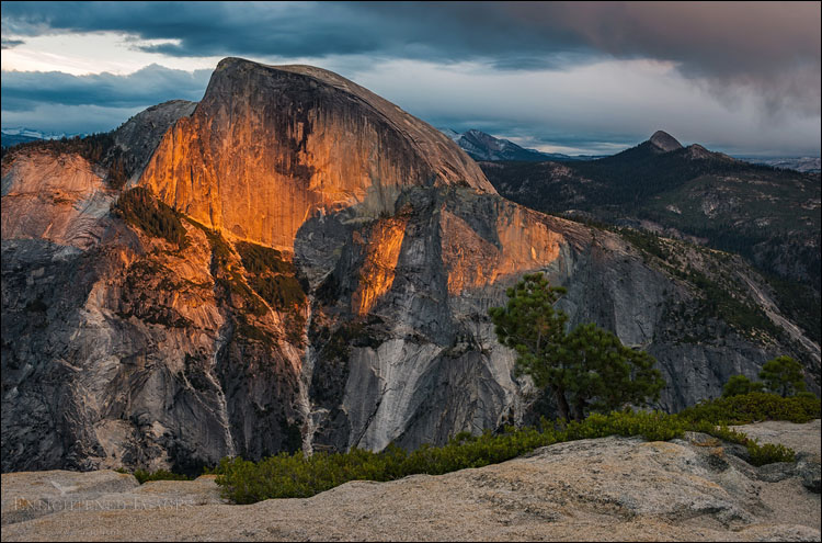 Image: Sunset light Half Dome during a fall storm, from North Dome, Yosemite National Park, California