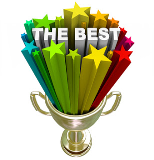 A golden first place trophy with the word Best and colorful stars shooting out of it, symbolizing winning a competition or being declared to be top of your field, sport or class