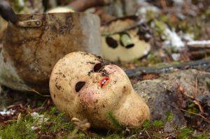 Cabeza de muñeca rota en el suelo, de Marina
