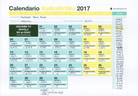 Calendario NaNoWriMo 2017 de Literautas