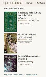 Lecturas actuales en Goodreads