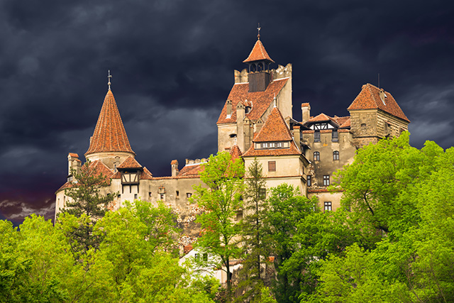Beautiful Dracula castle, the famous legendary and medieval cast
