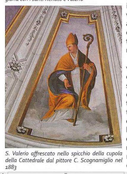Image may contain: text that says 'S. Valerio affrescato nello spicchio della cupola della Cattedrale dal pittore C. Scognamiglio nel 1883'