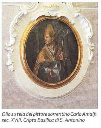 Image may contain: 1 person, text that says 'SSALBRVI Olio SU tela del pittore sorrentino Carlo Amalfi. sec. XVIII. Cripta Basilica di S. Antonino'