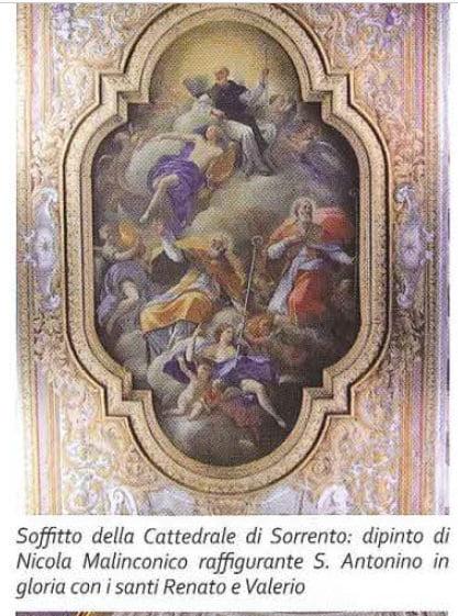 Image may contain: text that says 'Soffitto della Cattedrale di Sorrento: dipinto di Nicola Malinconico raffigurante S. Antonino in gloria con i santi Renato e Valerio'