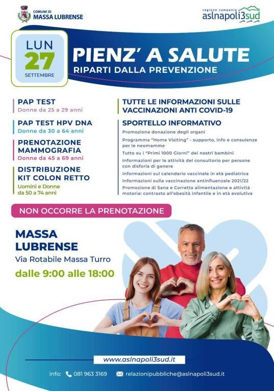 """Massa Lubrense: domani tappa della campagna di prevenzione """"Pienz a salute"""""""
