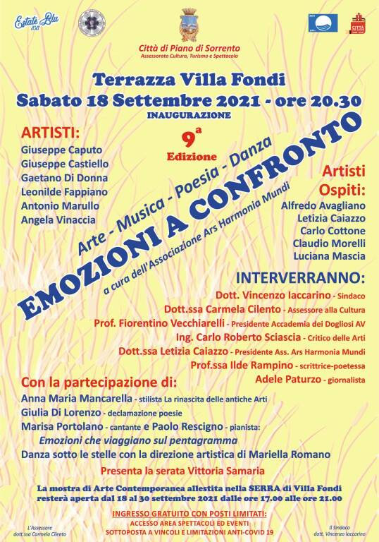 Piano di Sorrento: Emozioni a Confronto IX edizione a Villa Fondi