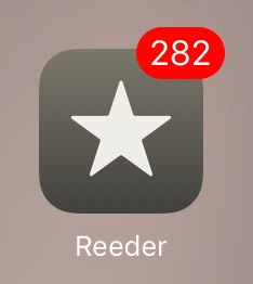 Screenshot of Reeder RSS App with 282 unread entries