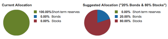 Vanguard Investor Questionnaire Risk Profile Result 80% Stocks 20% Bonds.