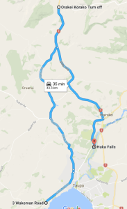 Google Map of Taupo to Orakei Korako to Huka Falls Route.