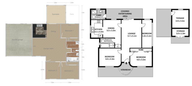 Floorplans for houses in Lithgow and Parramatta
