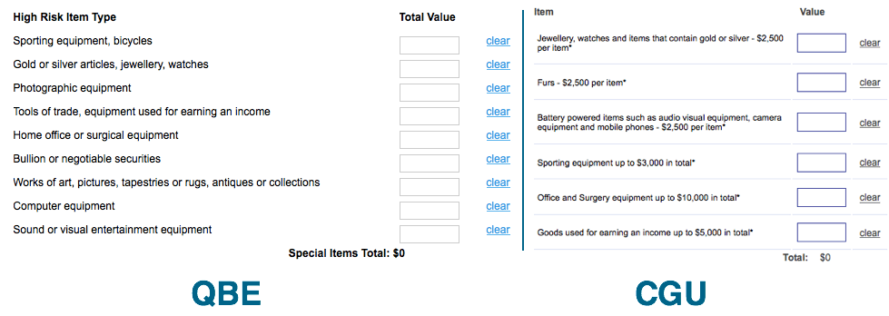 Specified item suggestions for QBE and CGU contents insurance.