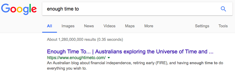 """This website is now the first returned result in Google for """"enough time to""""."""