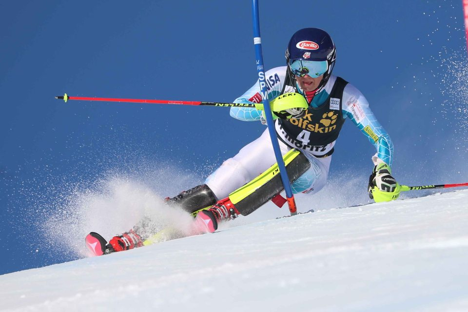 SANKT MORITZ,SWITZERLAND,19.MAR.16 - ALPINE SKIING - FIS World Cup Final, slalom, ladies. Image shows Mikaela Shiffrin (USA). Picture shot with a Canon EOS-1D X Mark II sample. Photo: GEPA pictures/ Christian Walgram