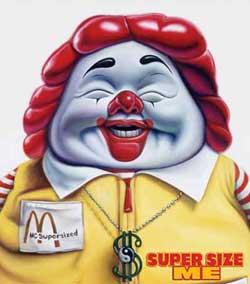 """El Ronald McDonald """"super-sized""""."""