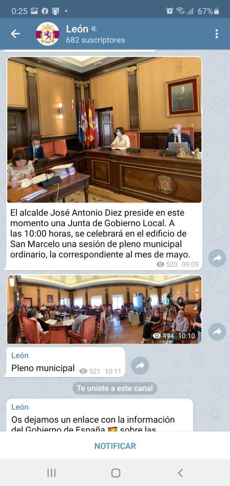 canal de Telegram Ayuntamiento de León