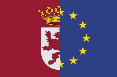 bandera de europa y león fusionadas