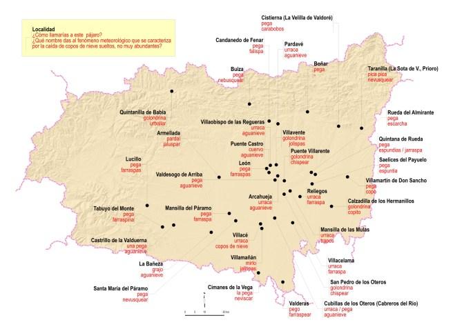 Mapa El léxico leonés