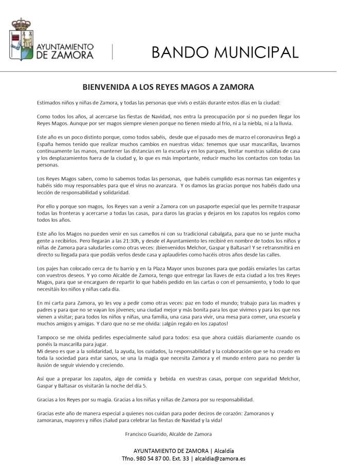 Bando Municipal Reyes Magos 2020 Zamora