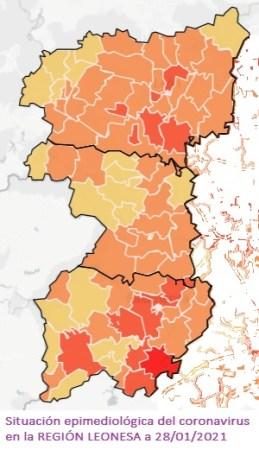 situación coronavirus región leonesa a 28 01 2021