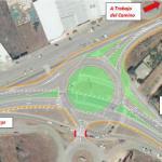 intersección de acceso a Trobajo del Camino en la N-120