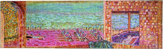 Pierre Bonnard, La Terrasse ensoleillée, 1939-1946. Huile sur toile, 72 x 236 cm Collection particulière © Adagp, Paris 2013
