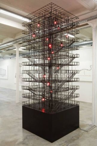 Atelier Van Lieshout, Minimal Steel with Red Lights, 2008