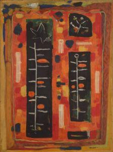 Roger Bissière, Grand rouge, pousse blanche, étoile, 1953, collection particulière © Jean-Louis Losi © ADAGP Paris 2014