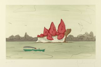 Claes Oldenburg, Proposed monument for Mill Rock, East River, NYC : slice of strawberry cheesecake, 1992 © Claes Oldenburg