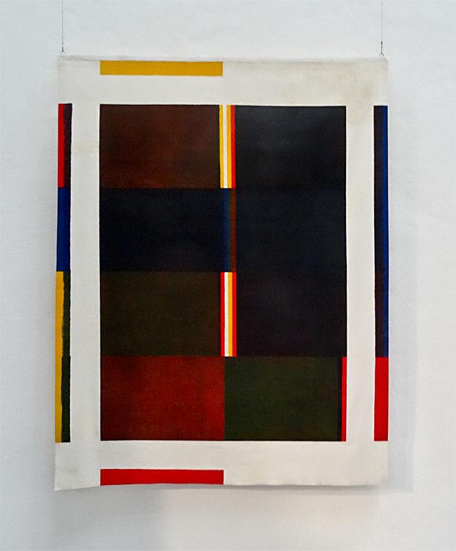 Albert Ayme,Paradigme du bleu-jaune-rouge, Acrylique sur coton non tendu, 166 x 136 cm, Don de l'artiste 1980 - Musée Fabre, 2014