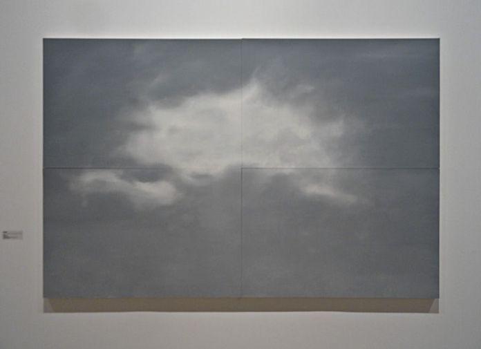 Patrice Palacio,Nuage, 2014. Peinture à l'huile sur 4 panneaux de bois, 240 x 160 cm. Collection de l'artiste