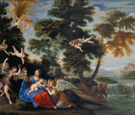 La Vierge visitée par les anges pendant la fuite en Égypte, Francesco Albani dit L'Albane, Bologne, Italie, deuxième moitié du XVIIe siècle
