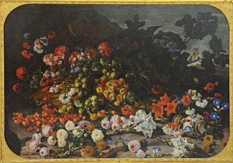 Paolo Porpora, Nature morte aux fleurs et aux fruits, avec un vase d'Orient et des oiseaux, vers 1660 - 1673, huile sur toile, 125 x 177 cm, Valence, musée des Beaux-Arts, Photo © Eric Caillet