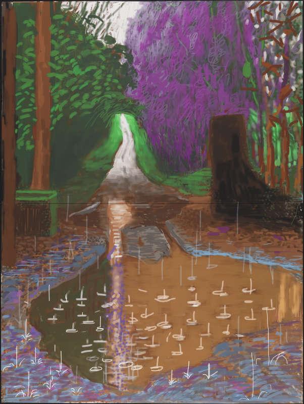 David Hockney, L'Arrivée du printemps à Woldgate, Est du Yorkshire en 2011 (deux mille onze) – 18 décembre Dessin sur iPad imprimé sur quatre feuilles de papier (118,1 x 88,9 cm chacune), montées sur quatre panneaux Dibond®, 236,2 x 177,8 cm au total Premier exemplaire sur un tirage de 10 © David Hockney Photographe : Richard Schmidt Collection de l'artiste