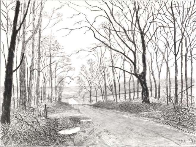 David Hockney, Woldgate, 16 & 26 mars de la série L'Arrivée du printemps en 2013 (deux mille treize)