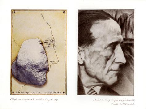 André Raffray, Le diptyque de Marcel Duchamp, 2003. Crayon de couleur sur papier, 61 x 50,5 cm