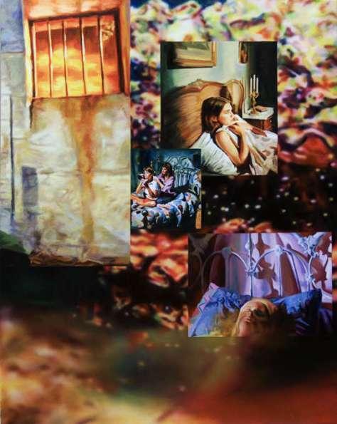 Francine Spiegel, The Watcher, 2010. Acrylique et aérographe sur toile. 147.5 x 112 cm