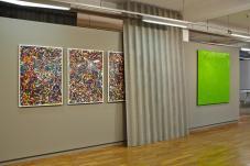Cédric Teisseire, Fragments du Confort Moderne,2006 – 2016 et Saw City Destroyed Same. Xavier Theunis, Sans titre rideau, 2013/2016… Serial Painter à la Galerie du 5ème, Marseille - Photo : J.C. Lett ©jcLett