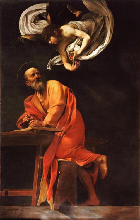 Michelangelo Merisi, ditCaravage, Saint Matthieu et l'Ange, ca 1602. Huile sur toile, 295 × 195 cm