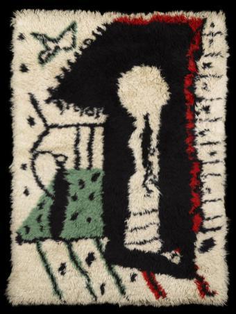 Pablo Picasso, Serrure, vers 1955 Tapis en laine au point noué, réalisé d'après un carton de Pablo Picasso. 193 x 142 cm Collection Albertini-Cohen / Photo David Giancatarina © Succession Picasso 2016
