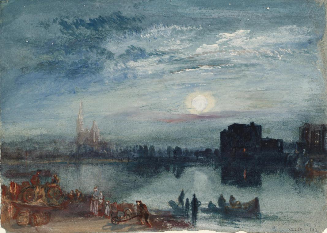 TURNER William (1775 - 1851) Saint-Denis (extrait de Turner's Annual Tour – The Seine, 1835), 1833 - Aquarelle et gouache, avec plume, sur papier bleu - 140 x 192 mm - Tate. Accepté par la nation dans le cadre du legs Turner, 1856 © Tate, London 2015
