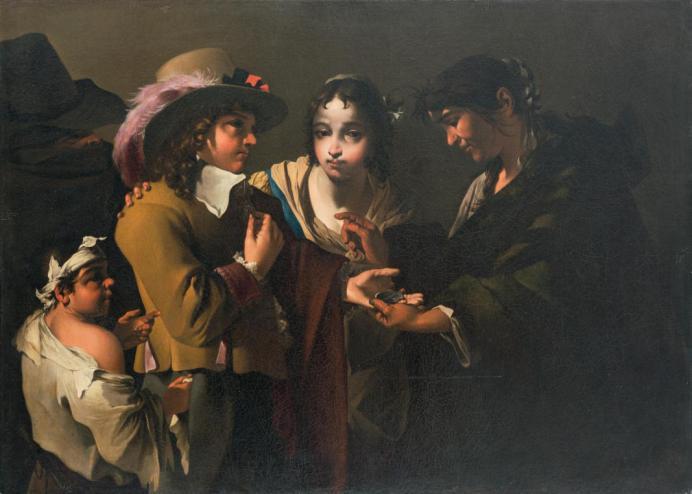 Jean Tassel, La Diseuse de bonne aventure, Vers 1645-1650. Huile sur toile, 99 cm x137 cm