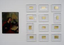 Les Possédés - Chapitre 2 - Fabrice Samyn : The medium is the message (1800-2008), 2008, huile sur toile, 80,5 x 63 cm. Collection Josée et Marc Gensollen - Untitled, from the series Gold Shadow, 2012, cadre brulé, feuille d'or au dos, 150 x 100 x 4,5 cm. Collection Josée et Marc Gensollen.
